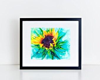"""11x14"""" Sunflower Art Abstract Watercolor Fine Art Print [Watercolor Sunflower Print Sunflower Painting Sunflower Art Sunflower Watercolor]"""