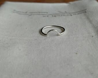 Half Circle Ring - Half Moon Ring  - Hammered Half Circle Ring - Silver C Ring - Crescent Moon Ring - Hypoallergenic Lightweight Jewelry