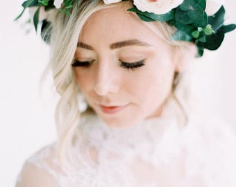 Laina-Flower Crown of pale blush pink blooms, whispy greens and preserved eucalyptus