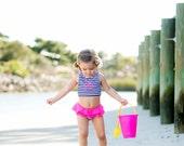 Custom Monogram Girls Swim Suit Set -Flower Girl Gift - Summer Monogram - Vacation - Kid's Bathing Suit - Summer Monogram
