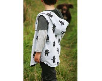 Vest Boy Girl Vest pattern Pdf sewing, Big BAD WOLF Vest, Long Trendy Fully lined Reversible Vest, Children Toddler Vest 3 - 10 yrs