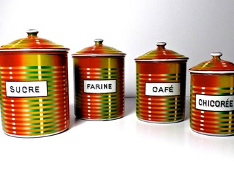 Mid Century Modern Enamel Canister Set from France, French Enamelware, French Kitchen, Mid Century Modern Kitchen, French Country Kitchen