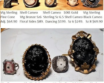 "1 Black Cameo Ring  Large Marked ""Sterling LSP Co."" Ring, Black Cameo Glass & Celluloid Size 8   Only 69.90"