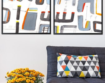 Large Abstract Art 28X40, grey and yellow painting Geometric Art modern Painting wall art by Duealberi