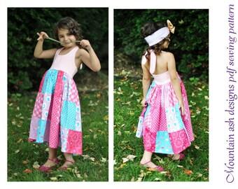 Daisy pdf sewing pattern halter neck patchwork dress top girls sizes 1-10