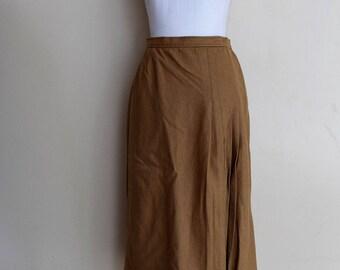 salvation armani vintage wool skirt - brown wool skirt - pleats and slit - ILGWU - vintage size 16 - Evan Picone