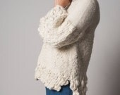 Knit Chunky Sweater, Cream soft texture wrap, oversize neutral knit design by Texturable