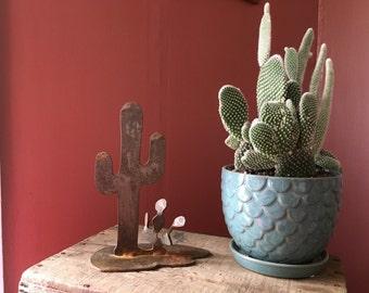 Vintage Iron Cactus Sculpture- Southwest Decor- Cacti