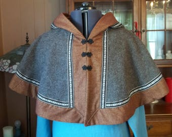 Hooded Mantle - Brown Heathered Wool with Rust Cotton Flannel Edging and Hood Lining