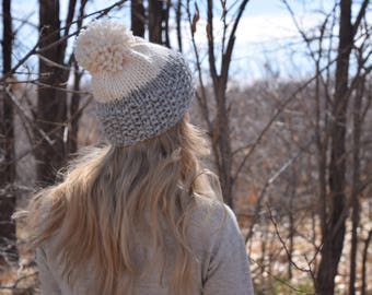 Textured Two-Toned Knitted Beanie Hat / Cozy Chunky Winter Pom Beanie Tam / Grey and Cream