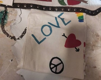 HOLSTER, DEPOSIT/Money Down Peace Love Mother Earth Tribal, Hippie, Recycled/Vintage Leather, 2 Pouches, ooak, currently being made