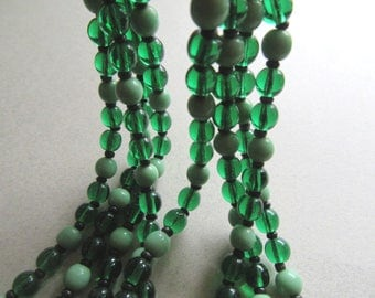 "1920's Emerald and Mint Green Vintage Glass Beads For Restring Destash Jewelry Making Jeweler Supplies 56"" Long Repurpose"