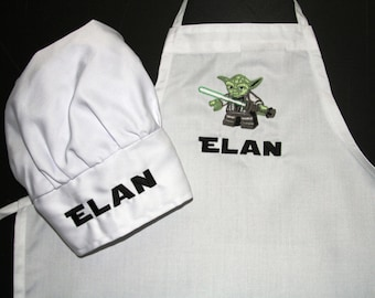 Children's Chef Apron and Hat, childrens kitchen, kids baking, monogrammed chef apron, kitchen set for kids, personalized aprons