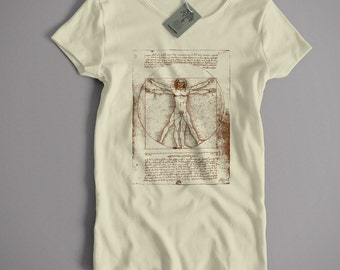 Old Skool Hooligans Leonardo Da Vinci T Shirt - Vitruvian Man S-XXL and Lady Fit Sizes Available Classic Fine Art Painting Shirt