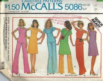 T Shirt Dress Pattern, Tunic and Pants Pattern, Elastic Waist Wide Leg Pants, Pullover Dress, Flutter Sleeves, Vintage 1970s, Bust 34 Inches