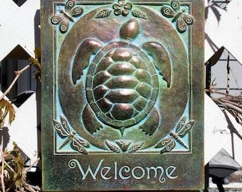 Turtle Welcome Concrete Garden Art Plaque