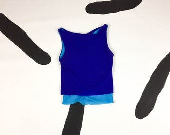 90s Blue Monochromatic Net Layered Cowl Neck Tank Top / Color Block / Minimalist / Cobalt Blue / Turquoise / Size Small / Y2K / Spice Girls