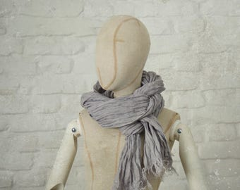 PURPLE GREY LINEN scarf / soft fringe