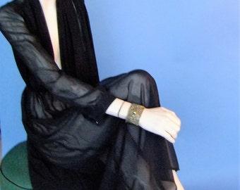 sheer black dress, 70s sheer black dress, goth, 70s vintage dress