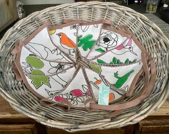 Fabric Bunting. FREE UK P & P. Nature fabric and crochet garland. Crochet edged Bunting. Hanging garland birds and botanical.
