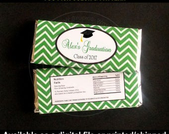 Graduation Party Chocolate Bar Wrapper - Graduation Candy Wrapper - Class of 2017 - Digital and Printed - You Pick Color & Pattern