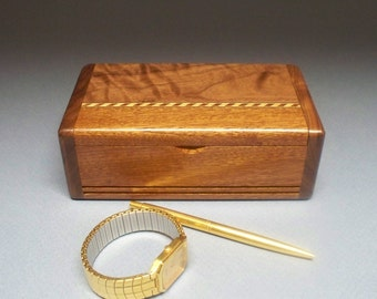 Mahogany & Figured Walnut Inlay Box, Gift Idea, Best Man Gift, Small Wooden Box, Watch Box, Corporate Gift, Small Wooden Box