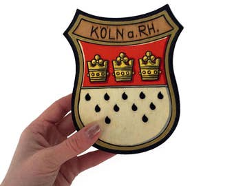 Cologne Germany Vintage Wooden Crest Coat of Arms Painted Shield Koln a. RH. Wall Hanging Vintage Wall Plaque European Travel Souvenir