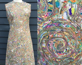 Vintage 60s dress . Whirly psychedelic mod shift mini . Go go retro