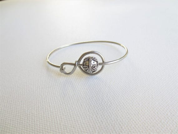 Stainless Steel Bicycle Spoke and Metal Bead Bracelet, Upcycled Bike Jewelry, Bicycle Accessories