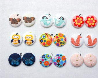 Fridge Magnets Set of 2 - You Choose -  Fridge Magnets Fabric Button Magnet 38mm (1 1/2 inch)
