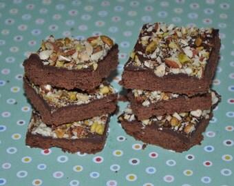 Chocolate Shortbread Cookies Bars Pistachio Almond edible gift