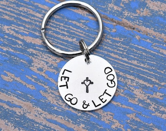 Let go and let God keychain with cross. Christian keychain, faith keychain, religious keychain