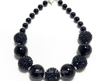 Toddler or Girls Black Chunky Necklace - Black on Black Necklace - Girls Black Sparkle Necklace - Chunky necklace - Flower Girl Necklace