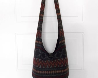 Hobo Bag Boho Bag Hippie Purse Crossbody Bag Sling Bag Hippie Bag Aztec Southwestern Geometric Striped Handmade Purse Hobo Purse Slouch Bag