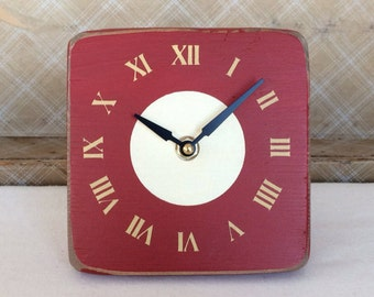 Unique Wood Wall and Desk Clock in Deep Red with Golden Yellow Roman Numerals