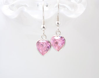 Pink CZ Heart earrings , Valentine's Day Pink Heart Earrings , Pink hearts , Cubic Zirconia Heart earrings , Valentine's Day , Gift