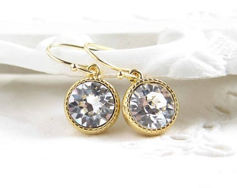 April Birthday ~ Swarovski Crystal Earrings ~ Clear Crystal ~ Gift for Her ~ Brithstone Jewelry ~ Bridsmaid Gift