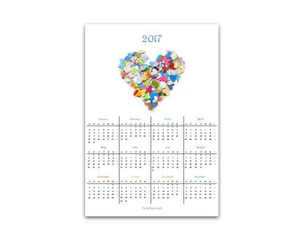 PDF printable calendar 2017 - one page with colorful heart