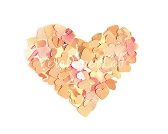 Little hearts punches in peach and soft pink shades - confetti