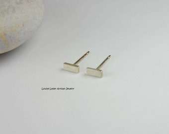 Silver Bar Earrings Handmade Simple Earrings Minimalist Earrings Sterling Silver Bar Studs Line Earrings