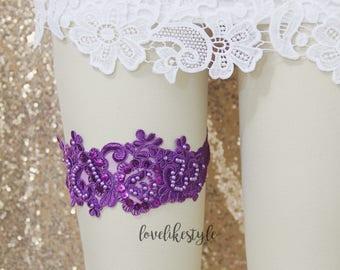 Purple Wedding Garter,Pearl Beaded Lace Wedding Garter, Purple Single Wedding Garter, Bridal Purple Lace Garter Belt