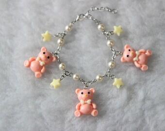 Pink Teddy Bear Charm Bracelet
