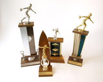 Group of 4 mid century vintage bowling trophies retro home decor kitsch