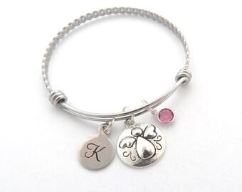 ANGEL Bracelet, Guardian Angel Jewelry, Angel Bangle, Angel Gift, Gift for Loss, Sympathy, Zen Jewelry, Guardian Angel Gift, Initial