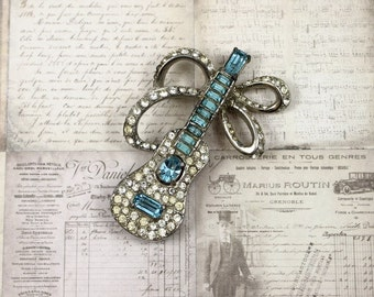 Wiesner Guitar Brooch, Pave Rhinestone Guitar Brooch, Aqua and Clear Rhinestone Guitar Brooch, Musical Brooch, Wiesner Jewelry