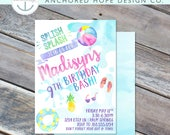 Pool Party Summer Party Beach Party   Girls Birthday Invitation- 5x7 - Watercolor - Printable File - Cardstock