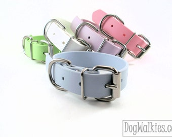 "Pastel Baby Blue Dog Collar - 1"" (25mm) Wide - Waterproof Biothane Dog Collar - Leather Look and Feel - Stainless or Brass Hardware"