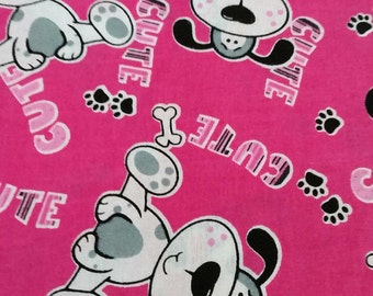 Puppy Dog Fabric By The Yard pink, cute dog baby girl fabric