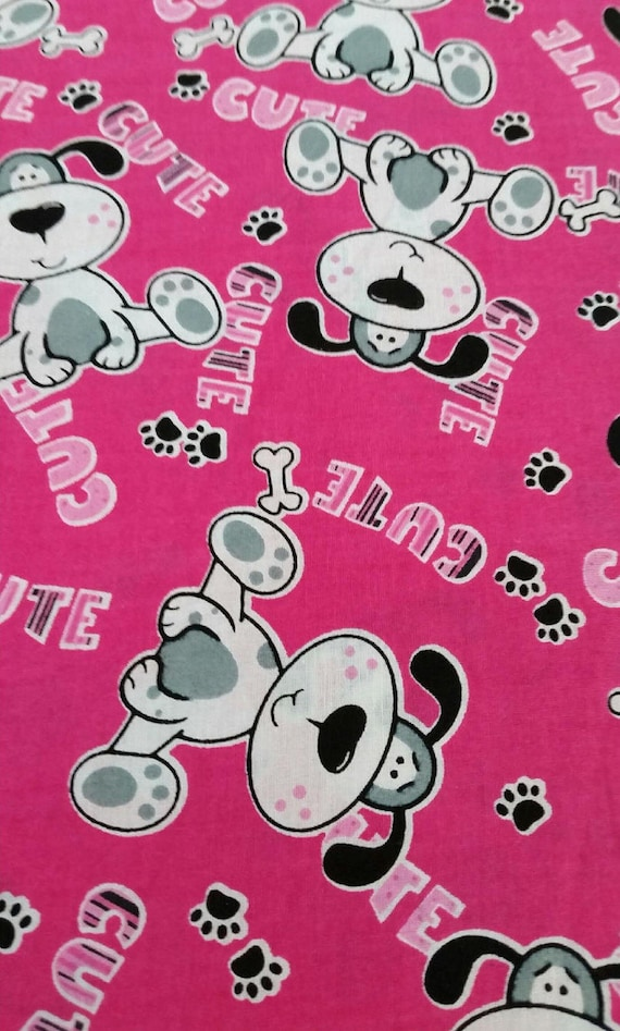 Puppy dog fabric by the yard pink cute dog baby girl for Cute baby fabric prints
