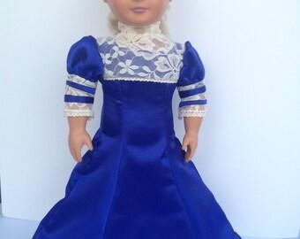 Bolero dress, historical doll clothes, 18 inch dolls, early 1900s dress, blue satin dress
